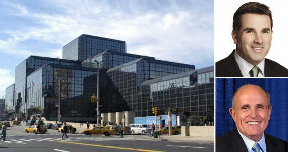 The Javits Center (inset from top: Kevin Plank and Rudolph Giuliani)