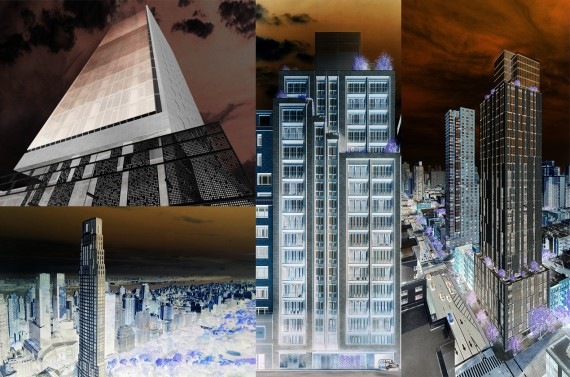 Clockwise from left: 133 Greenwich Street, 221 West 77th Street, 360 East 89th Street and 220 Central Park South