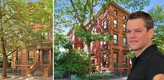 3 Pierrepont Place in Brooklyn and Matt Damon (credit: Corcoran)