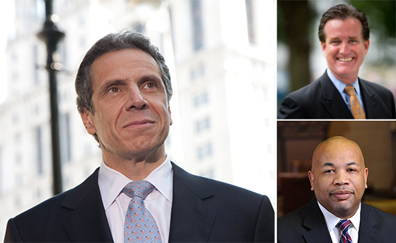From clockwise: Andrew Cuomo, John Flanagan and Carl Heastie