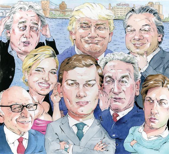 From top left going clockwise, Aby Rosen, Donald Trump, Marc Holiday, Josh Kushner, Charles Kusner, Jared Kushner, Ivanka Trump and Horward Lorber (Illustration by Paul Kisselev)