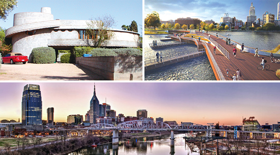 From clockwise: a midcentury house designed by Frank Lloyd Wright in Arcadia, Arizona, a highly anticipated pedestrian bridge in Providence, Rhode Island and Nashville