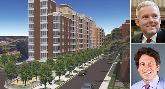 Rendering of 50-25 Barnett Avenue (inset from top: Jimmy Van Bramer and Adam Weinstein)