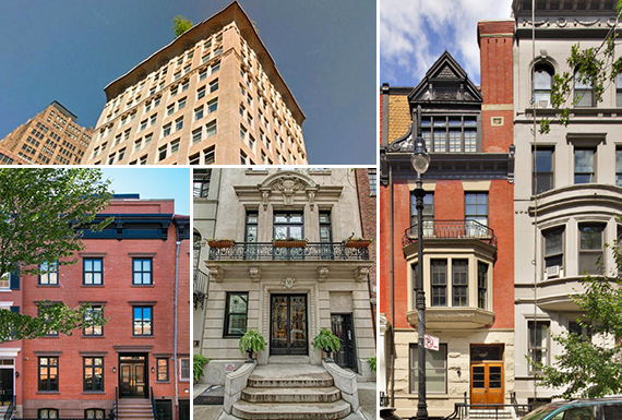 Clockwise from left: 245 Seventh Avenue, 61 West 69th Street, 58 East 66th Street and 336 West 12th street