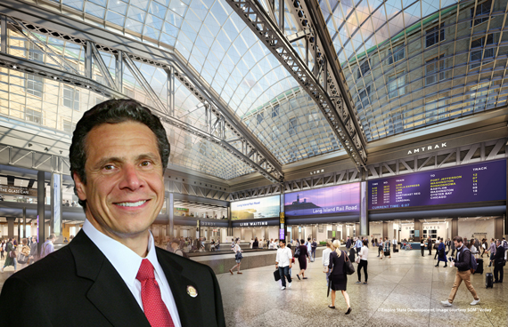 Andrew Cuomo and a rendering of Moynihan Station
