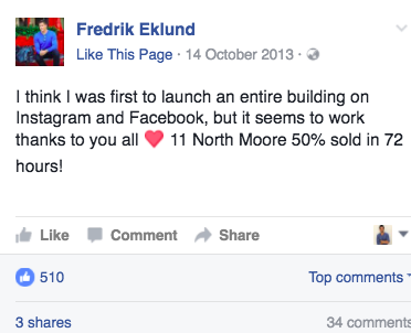 Fredrik Eklunds October 2013 Facebook post in which he claims 11 North Moore hit the 50 sold mark