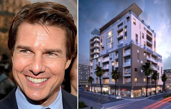 Tom Cruise and a rendering of the Clearwater building (Image credit: Georges Biard)