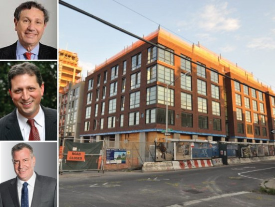 365 Bond Street in Gowanus (inset from top: Carl Weisbrod, Brad Lander and Bill de Blasio