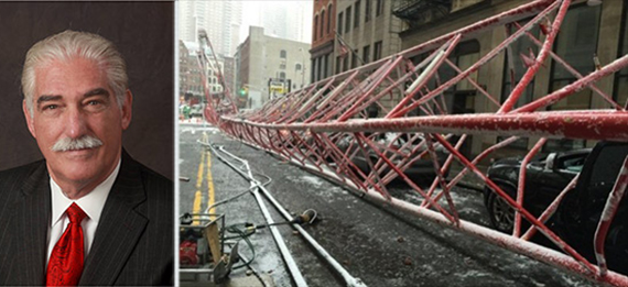 From left: Lou Colletti and scene from February crane collapse on Worth Street