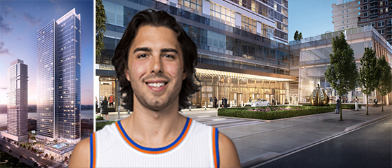 Moinian Group's Sky at 605 West 42nd Street in Midtown West and Sasha Vujacic (credit: NBA)