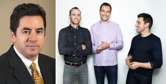 Mike Barnello and Airbnb founders Joe Gebbia, Nathan Blecharczyk and Brian Chesky