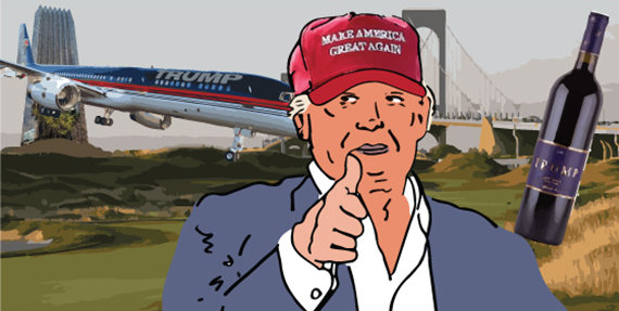 From left: Trump Tower, a Trump private airplane, Trump Golf Links at Ferry Point in New York, Donald Trump and Trump wines (illustration by Lexi Pilgrim for The Real Deal)
