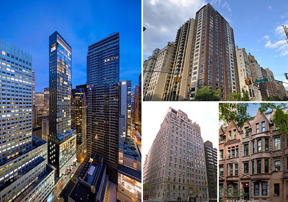 Clockwise from left: 20 West 53rd Street, 980 Fifth Avenue, 55 West 90th Street and 740 Park Avenue