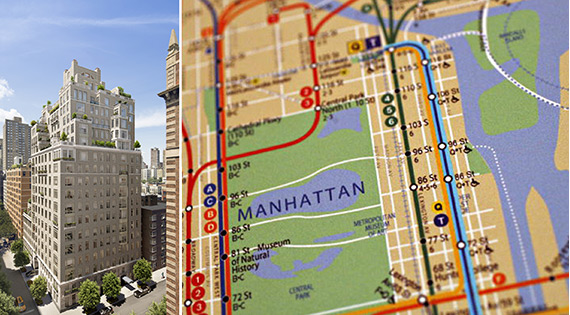 20 East End Avenue and a map of the Second Avenue Subway line (credit: Getty Images)