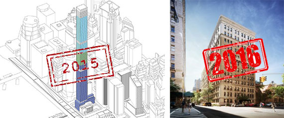 From left: A diagram for 80 South Street and rendering of 260 West 76th Street (credit: COOKFOX)