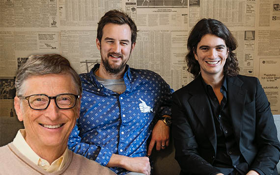 From left: Microsoft's Bill Gates and WeWork'sMiguel McKelvey and Adam Neumann