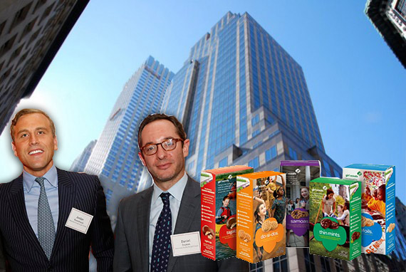 From left: NGKF's Jordan Roeschlaub and Daniel Fromm, 420 Fifth Avenue and Girl Scout cookies
