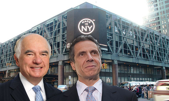 From left: John Degnan, Andrew Cuomo and Port Authority Bus Terminal