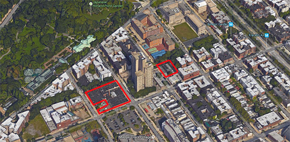 Cornell Realty Management's South Crown Heights development sites at 40 Crown Street (left) and 931 Carroll Street