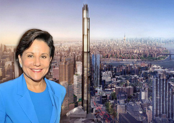 U.S. Secretary of Commerce Penny Pritzker and rendering of 340 Flatbush Avenue Extension (Credit: SHoP Architects)