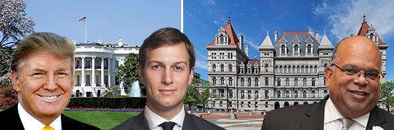 From left: Donald Trump, the White House, Jared Kushner, the New York State Capitol in Albany and John Banks
