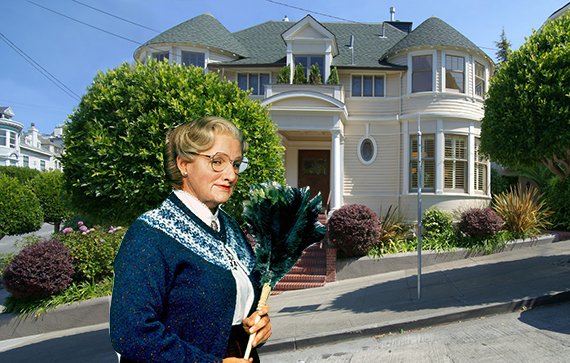 Robin Williams as Mrs. Doubtfire and the Pacific Heights home