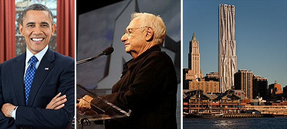 From left: President Obama, Frank Gehry and 8 Spruce Street