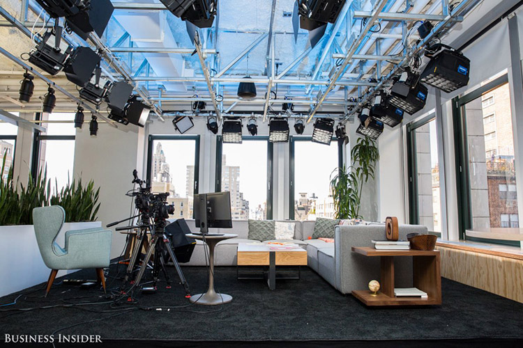 "Our next stop was the office's new media space, used for filming Facebook Live interviews. The spot features a fully-lit stage and a classic view of New York City. Reynar says celebrity sightings aren't rare around the Facebook office. Recently, the cast of Netflix's ""Stranger Things"" swung by for an interview. (credit: Sarah Jacobs via Business Insider)"