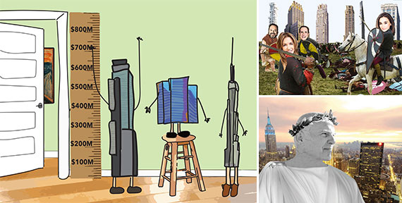 "Clockwise from left: Buildings attempting to look more ""sold"", the new development battle and Steve Roth (Illustration by Lexi Pilgrim for The Real Deal)"