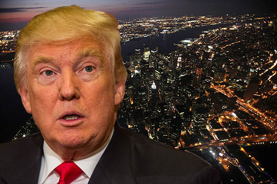 Donald Trump and an areal view of New York City (credit: Getty Images)
