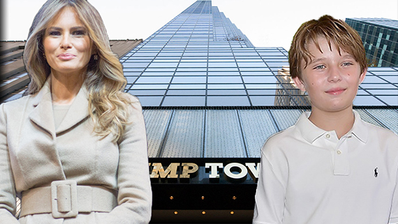 Trump Tower (inset: From left, Melania Trump and Barron Trump)