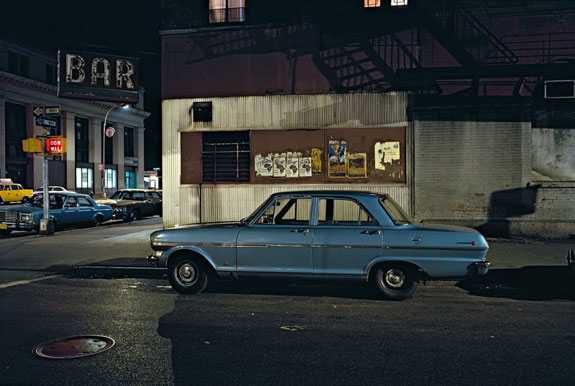 Bar car (anti-apartheid day), Chevrolet Nova, in the Twenties near Avenue of the Americas, 1976 Credit: Langdon Clay