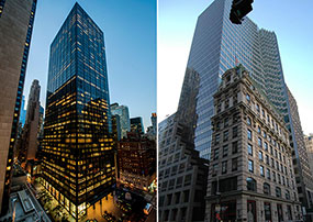 From left: 1345 Sixth Avenue and 452 Fifth Avenue