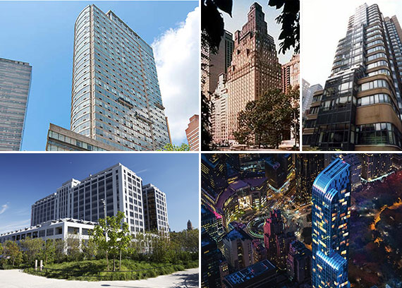 Clockwise from left: 1965 Broadway, 50 Central Park South, 2000 Broadway, 157 West, 57th Street and 360 Furman Street