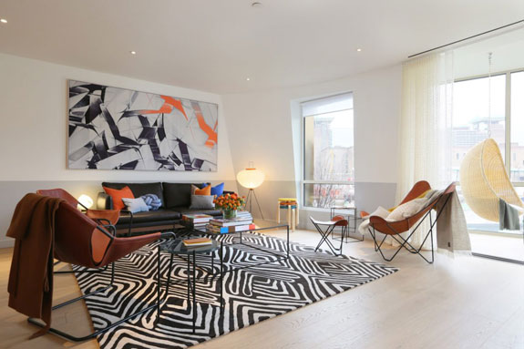 A show apartment designed by Frank Gehry at the Battersea Power Station Development in London.