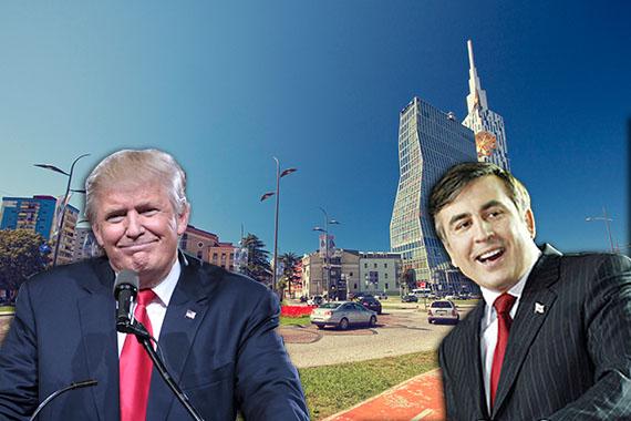 From left: Donald Trump Batumi, Georgia and Mikhail Saakashvili