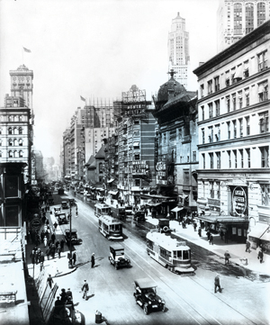 Broadway streetscape during the 1920s