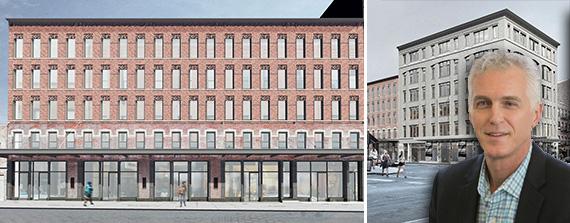 From left: Renderings of 60-68 Gansevoort Street, 70-74 Gansevoort Street and Jonathan Denham