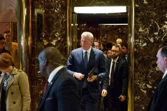 Mayor Bill de Blasio leaving Trump Tower (credit: Getty Images)
