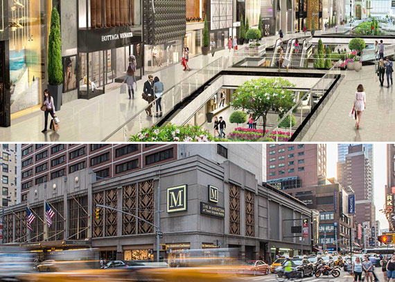 From top: Renderings of American Dream and the Manhattan Hotel at Times Square (Credit: Triple Five and Manhattan Hotel at Times Square Hotel)