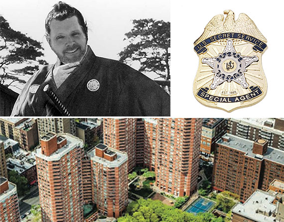 Clockwise from left: Bob Knakal as a rōnin, a Secret Service badge and Kips Bay Court