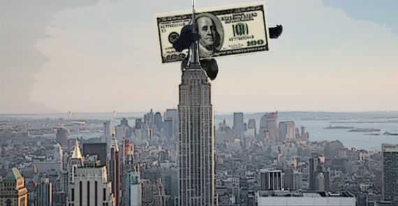 A U.S. dollar climbing the Empire State Building (illustration by Lexi Pilgrim for The Real Deal).