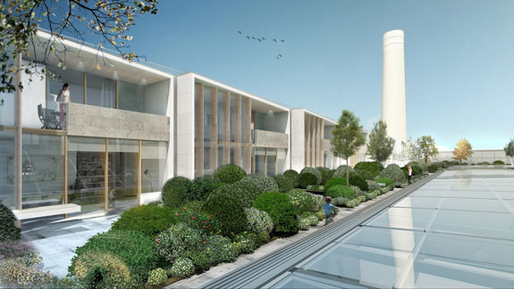 A rendering of the villas at the renovated Battersea Power Station, set to open in 2021, in London.