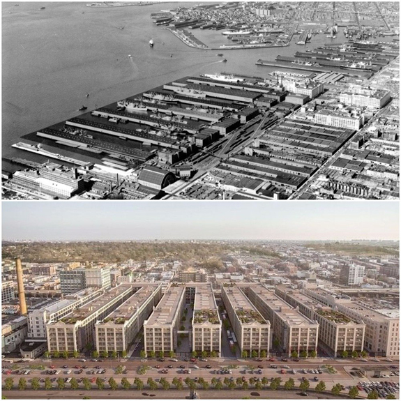 Industry City in a 1958 photo (above) vs. a rendering of the revamped Industry City in Brooklyn (below) (Source: Wikipedia Commons/Industry City)