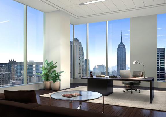 Office design corner office ceo office for Modern real estate office design