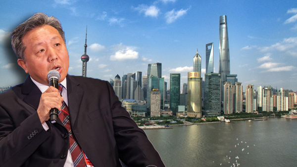 Wu Xiaoqiu and the Shanghai skyline (image credit: the Boao Forum)