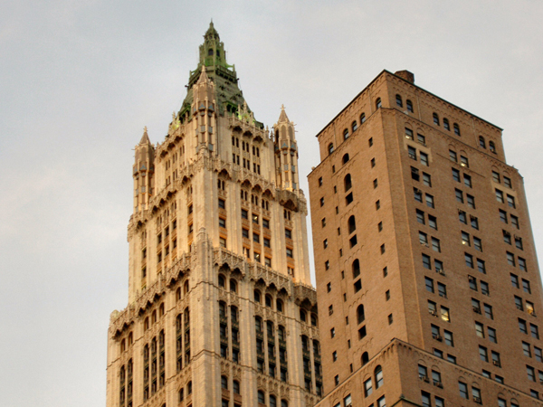 The Woolworth building in 2005, sans gargoyles.Wikimedia Commons