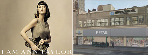 An Ann Taylor ad and a rendering of 447 Fulton Street in Brooklyn