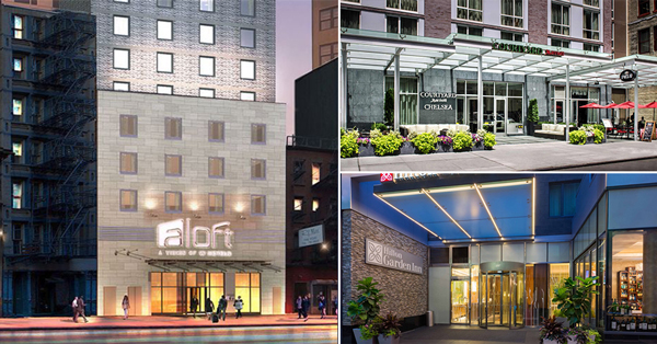 Clockwise From Left Aloft Downtown Courtyard By Marriott Chelsea And Hilton Garden Inn Central Park South The Coldest Winter Manhattan S Hotel