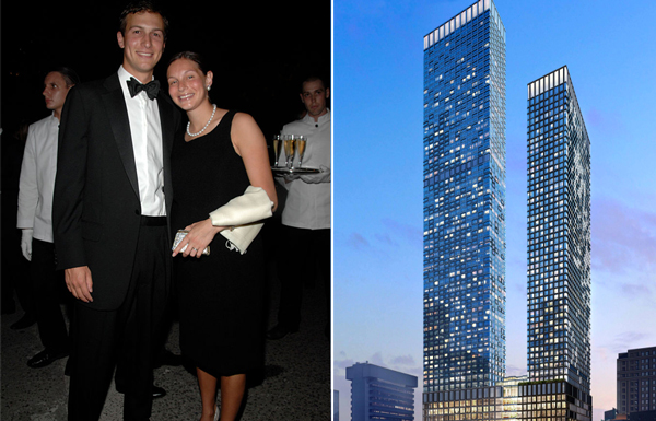 Jared Kushner and Nicole Meyer and a rendering of One Journal Square (Photo by PATRICK MCMULLAN/Patrick McMullan via Getty Images)